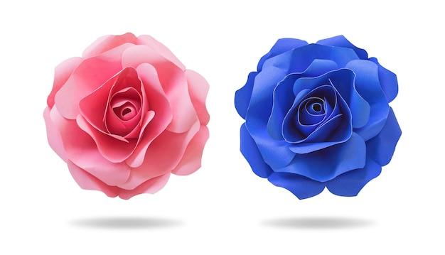 Blumenpapier auf getrenntem hintergrund mit ausschnittspfad. origami mit blumen für ihr design.