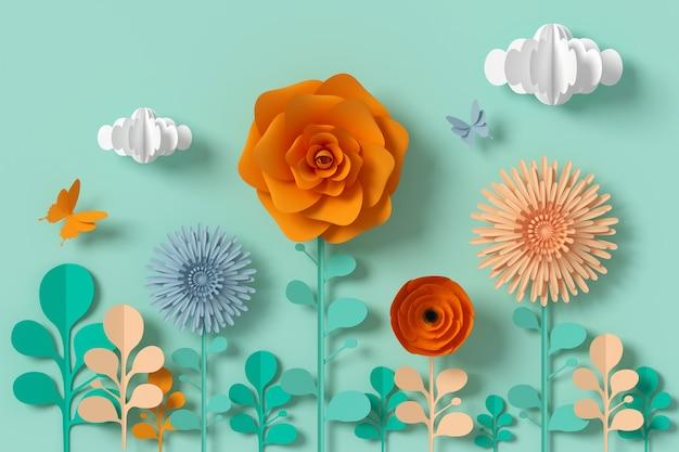 Blumenpapierart, bunte rose, papierhandwerk mit blumen, schmetterlingspapier.