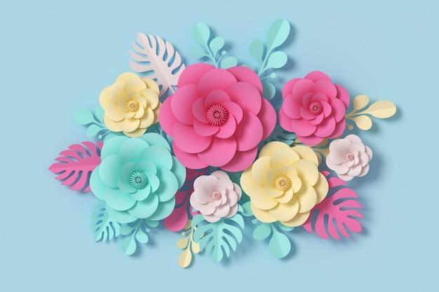Blumenpapierart, bunte rose, papierhandwerk mit blumen, wiedergabe 3d, mit beschneidungspfad.