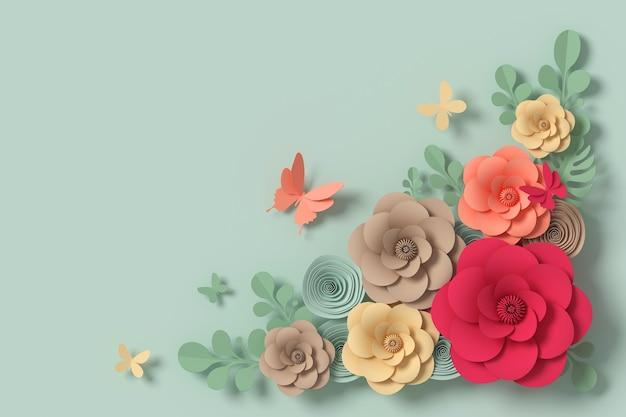Blumenpapierart, papierhandwerk mit blumen, schmetterlingspapierfliege, wiedergabe 3d