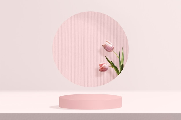 Blumenprodukt-kulisse mit tulpe in rosa