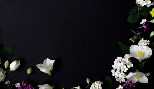 Blumenrahmen aus verschiedenen frühlingsblumen auf schwarzem hintergrund blüht flach platz für text