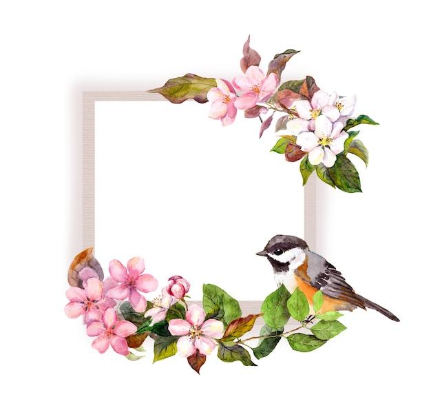 Blumenrahmen mit blumen und schönem vogel für innenarchitektur. aquarellrand für text