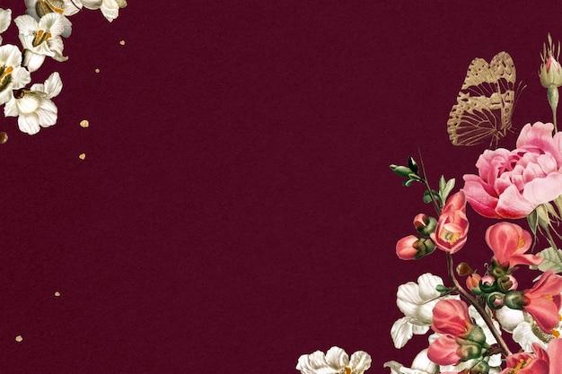 Blumenrosa verzierte grenzaquarellillustration auf rotem hintergrund
