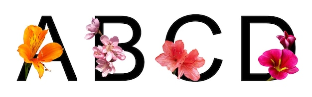 Blumenschriftbuchstabe abcd erstellen mit echten blumen für die dekoration im frühlings-sommer-konzept