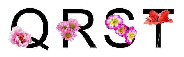 Blumenschriftbuchstaben qrst mit echten blumen für die dekoration im frühlings-sommer-konzept erstellen