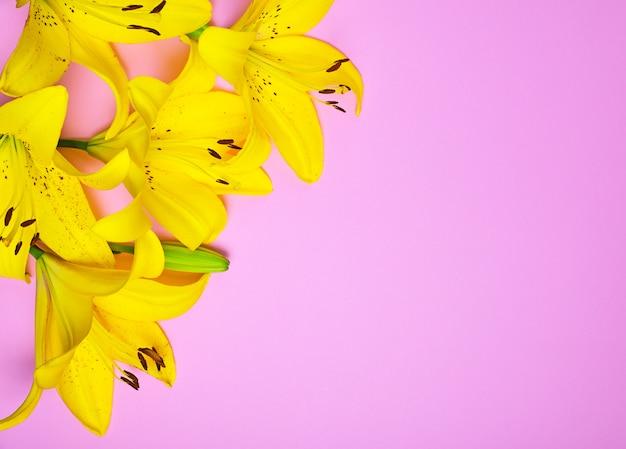 Blumenstrauß aus blühenden gelben lilien
