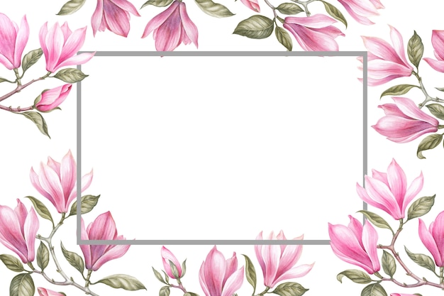 Blumenstrauß aus magnolien. einladungskarte für hochzeit, geburtstag und anderen urlaub und sommer