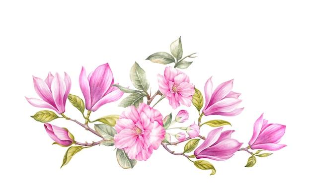 Blumenstrauß aus magnolien.