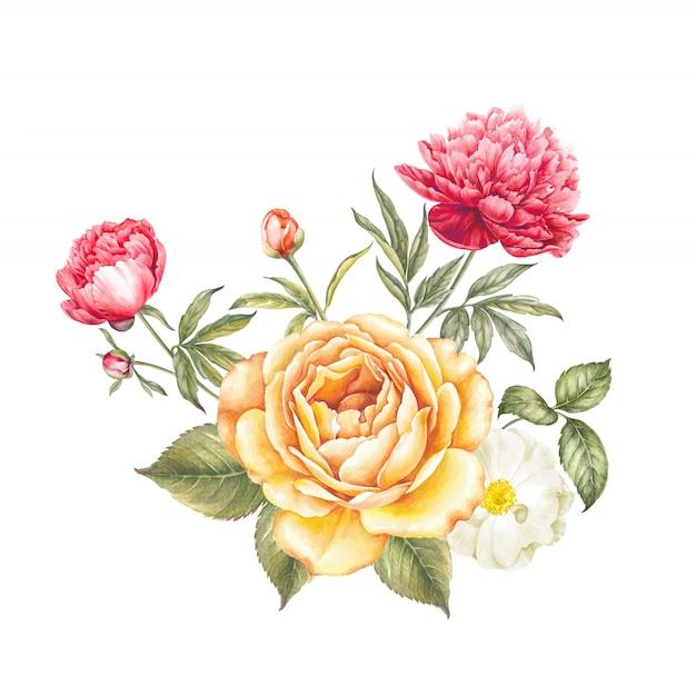 Blumenstrauß aus rosen und pfingstrosen.