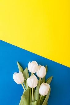 Blumenstrauß aus weißen tulpenblumen auf einer mischung aus gelbem und blauem hintergrund. frühlingskonzept lebensstil. blumenarrangement mit kopienraum.