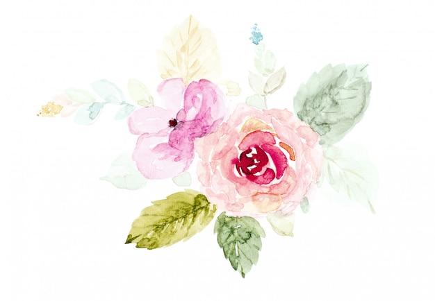 Blumenstrauß blüht das aquarell, das auf weiß handgemalt ist.