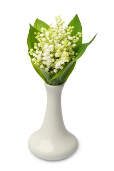 Blumenstrauß der maiglöckchen in der vase auf weißem hintergrund