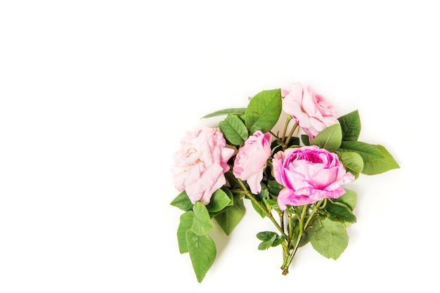 Blumenstrauß mit rosa rosen auf weißem hintergrund flache lage draufsicht blumenhintergrund