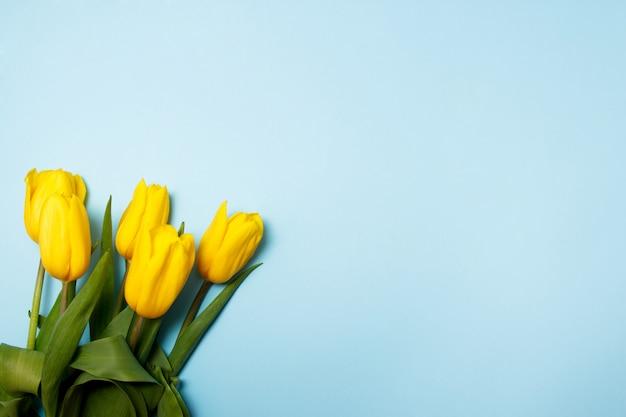 Blumenstrauß von gelben tulpen auf einem blauen hintergrund. frühlingskonzept