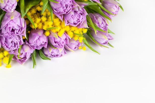 Blumenstrauß von lila tulpen und gelben mimosen auf weißem hintergrund, kopienraum, seitenansicht, nahaufnahme.