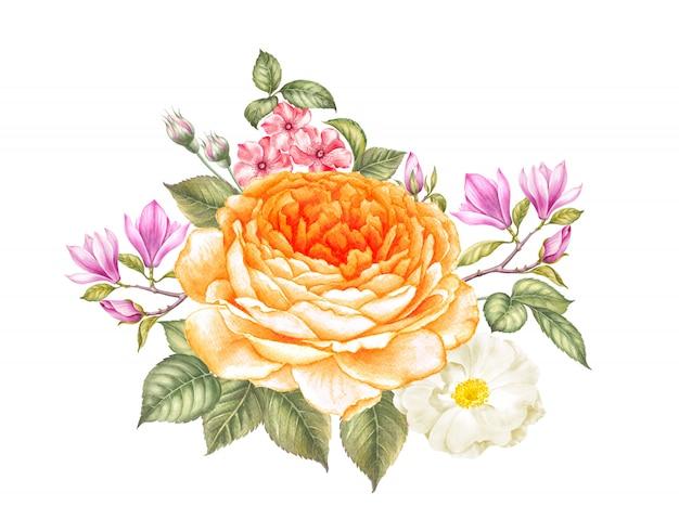 Blumenstrauß von rosen- und magnolienblumen lokalisiert