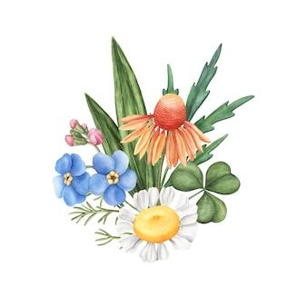 Blumenstrauß von wilden sommerblumen, kleine zusammensetzung