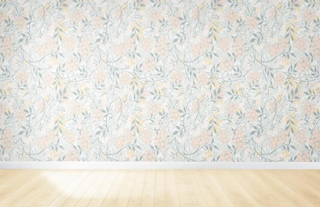 Blumentapete in einem leeren raum mit bretterboden