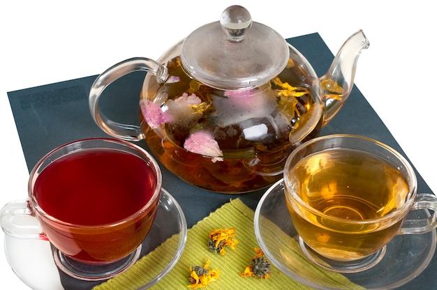 Blumentee in klarglas-teekannen mit teetassen.
