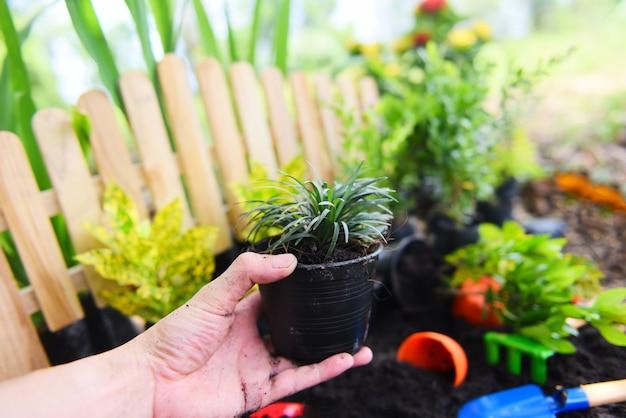 Blumentopf in der hand für das pflanzen im garten