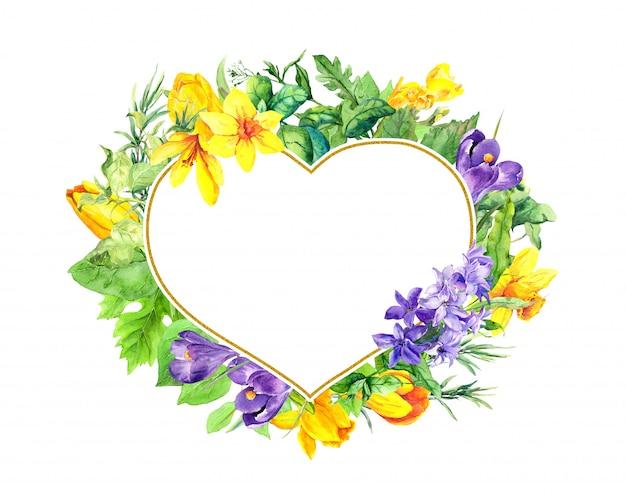 Blumige herzform - frühlingsblumen, krokusse, tulpen, narciccus, hyazinthen. aquarellkranzrahmen für valentinstag