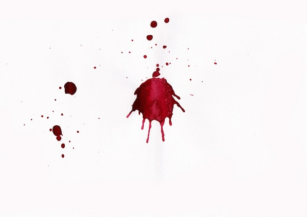 Blut spritzt auf weißem hintergrund