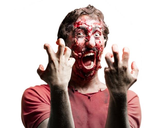 Blutige zombie kreischen