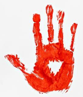 Blutigen handabdruck finger