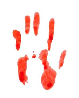 Blutiger handabdruck isoliert auf weißem hintergrund