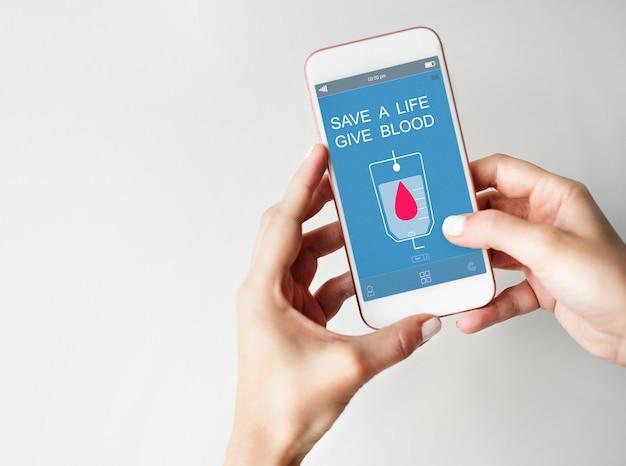 Blutspenden geben leben transfusion sangre-konzept