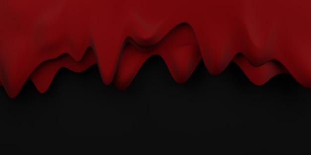 Blutstropfen grenze halloween blutfluss hintergrund rote flüssigkeit schwarzer hintergrund 3d-darstellung