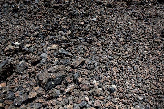 Bodenbeschaffenheit der schwarzen vulkanischen steine