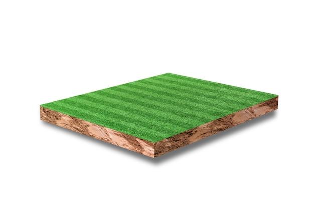 Bodenkubischer querschnitt mit grünem grasfußballfeld lokalisiert auf weiß