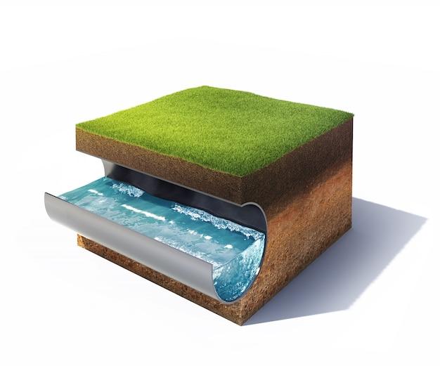 Bodenquerschnitt mit gras- und stahlrohr mit auf weiß isoliertem wasser