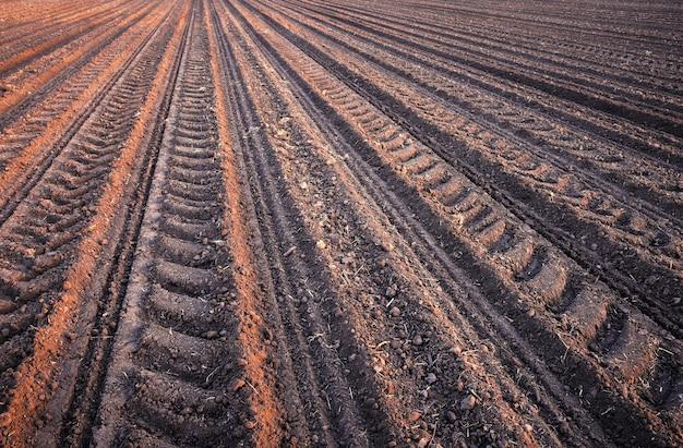 Bodenreihen vor dem pflanzen. furchenreihenmuster in einem gepflügten feld, das für die anpflanzung von pflanzen im frühjahr vorbereitet wurde.