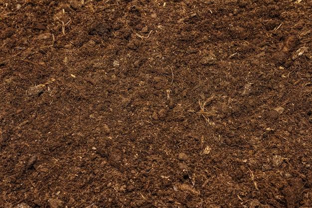 Bodentexturhintergrund für gartenkonzept. kultivierter boden, umweltoberfläche