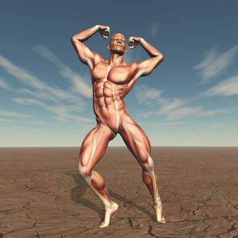 Body buildern 3d mit muskelkarte in der unfruchtbaren landschaft