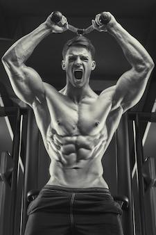 Bodybuilder schöner starker athletischer rauer mann, der trizepsmuskeln aufbaut, trainiert fitness- und bodybuildingkonzept