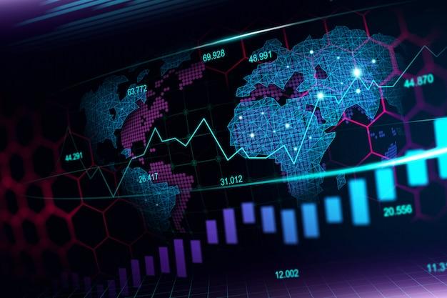 Börse oder devisenhandelsdiagramm im futuristischen konzept