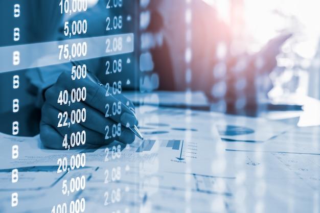 Börse- oder devisenhandelsdiagramm und kerzenständerdiagramm für finanzinvestition