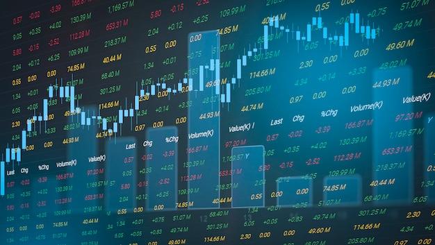 Börsediagrammgeschäfts-devisenhandelsinvestitionsfinanzaktiendiagramm-börsenwachstum und krisengeld