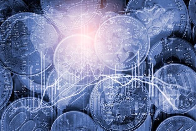 Börsen- oder devisenhandelsdiagramm und candlestick-diagramm, geeignet für finanzinvestitionskonzept