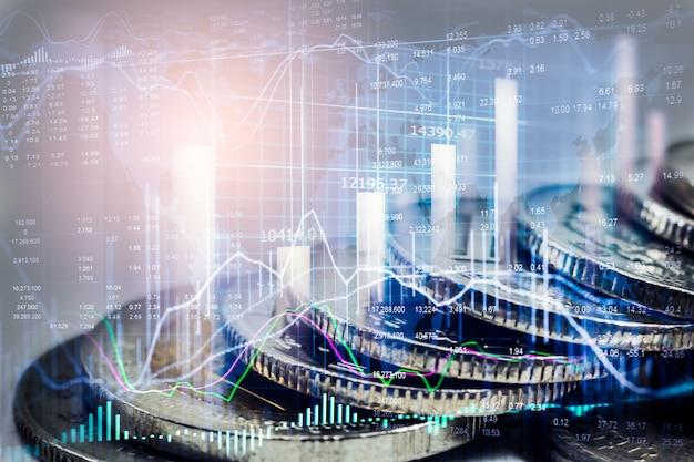 Börsen- oder devisenhandelsdiagramm und -kerzenhalter für finanzinvestitionshintergrund.