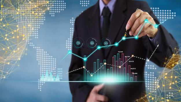 Börsen- oder forex-trading-grafik und candlestick-chart geeignet für finanzanlagekonzept