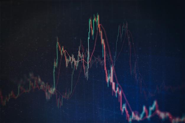 Börsendiagramm und geschäftsfinanzdaten zu led. geschäftsdiagramm und finanzindikator für aktien. aktien- oder geschäftsmarktanalysekonzept.