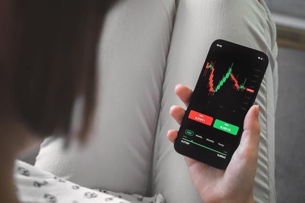 Börsenhandel von zu hause aus. handy mit candlestick-griffen auf dem bildschirm. hintergrundfoto des investitions- und analysekonzepts
