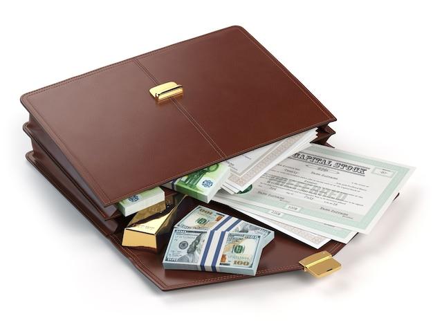 Börsenportfolio-konzept. aktenkoffer mit kapitalaktien, anleihen, gold und geld isoliert auf weißem hintergrund. 3d-darstellung