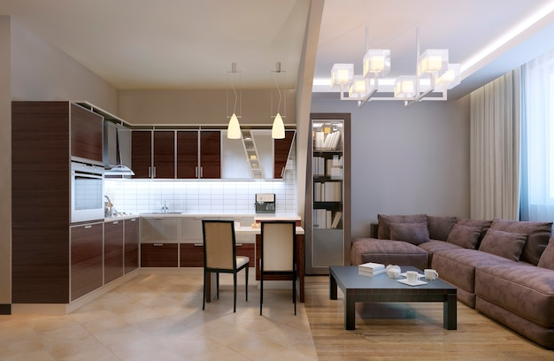 Bogen getrenntes küchenstudio und wohnzimmer mit bücherregal und samtsofa