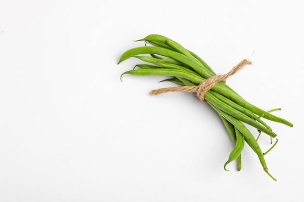 Bohnen- oder dolichosbohnenschoten, bauernhoffrisches konzept